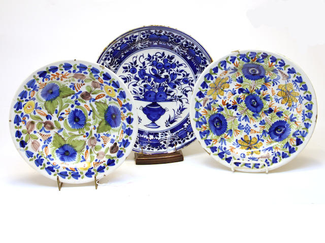 Three Dutch Delft chargers late 18th century