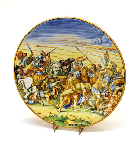 An Italian majolica polychrome charger Vincenzo Molaroni of Pesaro first quarter 20th century