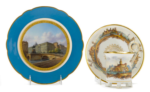 A Berlin (KPM) porcelain topographical plate and a Berlin (KPM) cabinet cup and saucer<BR />mid 19th century