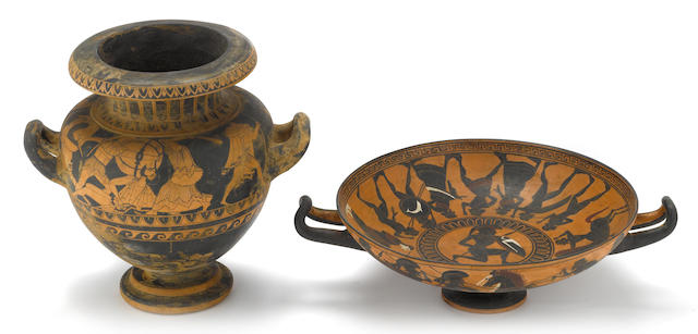 A Grand Tour black figure column krater and kylix<BR />20th century