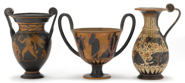Three Grand Tour black or red figure vessels 19th/20th century