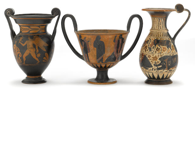 Three Grand Tour black or red figure vessels<BR />19th/20th century