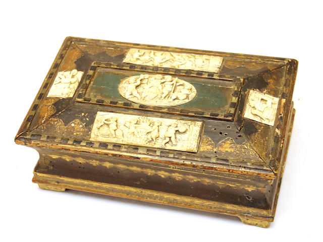 A Renaissance style giltwood, painted and faux ivory mounted casket 19th/20th century