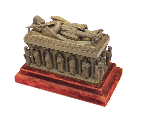 A patinated bronze model of a Medieval king's tomb late 19th century