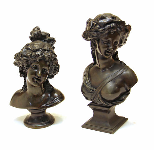 Two patinated bronze busts of Bacchantes  <BR />late 19th century