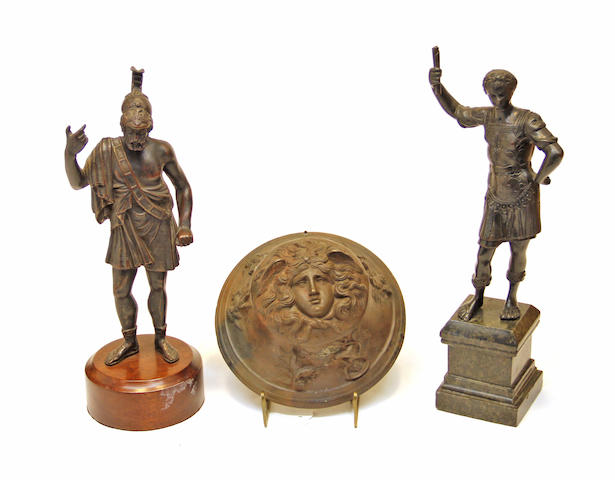 Two patinated bronze Classical style figures and hemispherical mount 19th/20th century