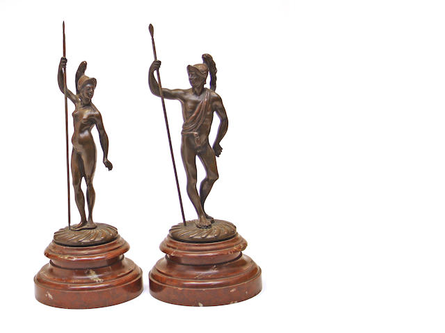 A pair of patinated bronze figures of Mars and Minerva in the 17th century style 20th century