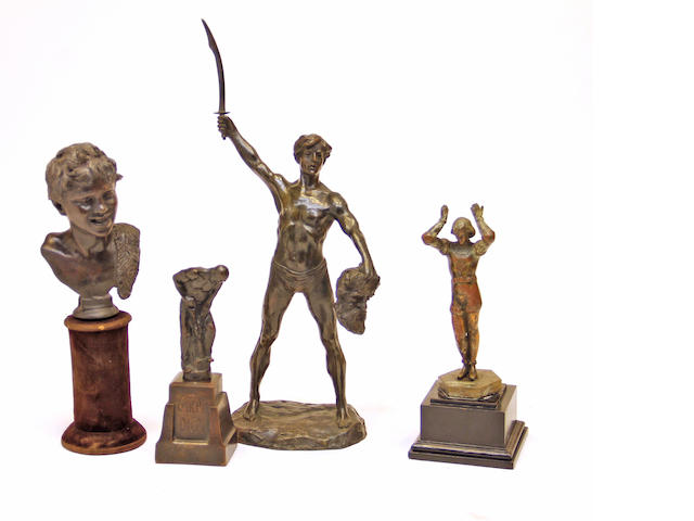 Four patinated bronze figures late 19th/early 20th century