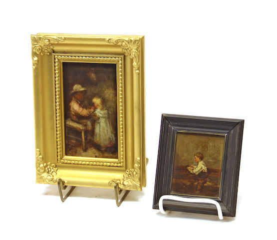 Two framed oil on panel pictures of children late 19th century