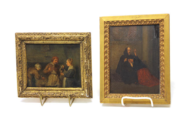 Two framed oil on panel genre scenes 19th century
