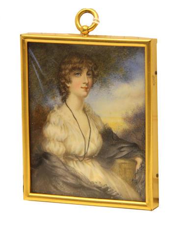 A framed miniature portrait of a Regency lady early 20th century