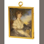 A framed miniature portrait of a Regency lady early 20th century