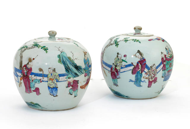 A pair of famille rose enameled porcelain covered jars  Late Qing/Republic period