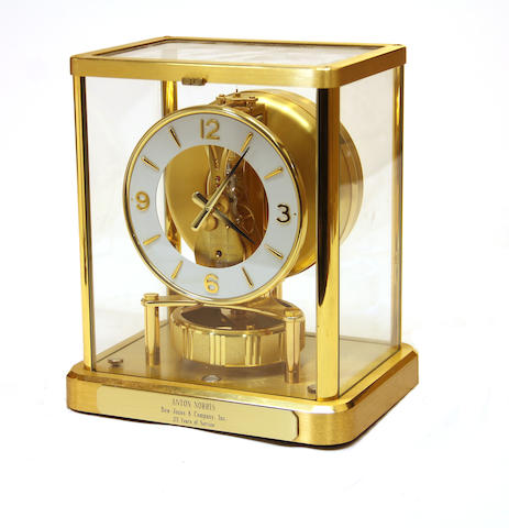 A Jaeger-Le Coutre gilt brass 13 jewel Atmos 540 clock serial number 630323<BR />last quarter 20th century