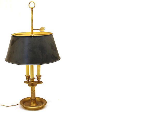 A Louis XVI style gilt bronze three light bouillotte lamp Tailleur Fils & Cie, Paris<BR />model 1037<BR />mid 20th century