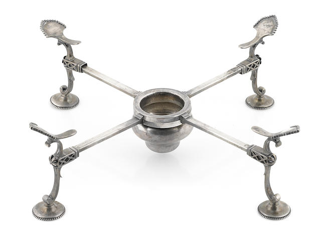 A George III  sterling silver  dish cross probably Burrage Davenport, London, 1777