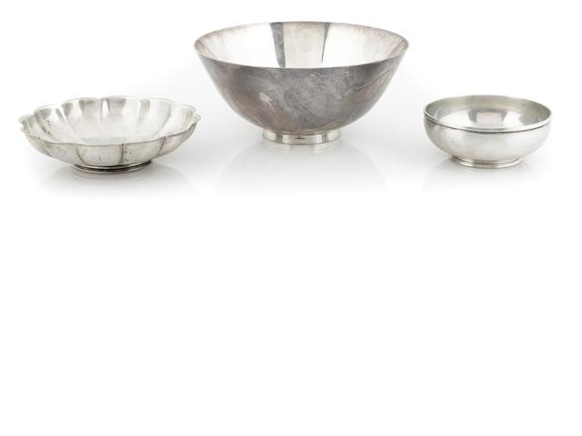 Three American  sterling silver  bowls mid-20thc entury