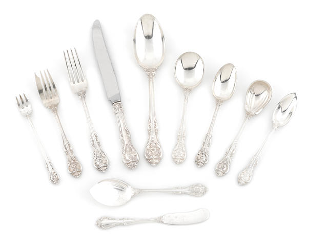 An American sterling silver  assembled flatware service for twelve Gorham Mfg. Co., Providence, RI,  mid-20th century