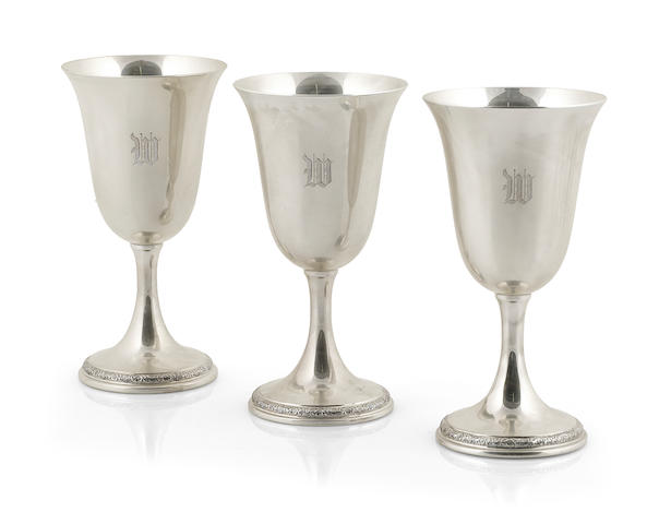 A set of twelve American sterling silver goblets International Silver Co., Meriden, CT, mid-20th century