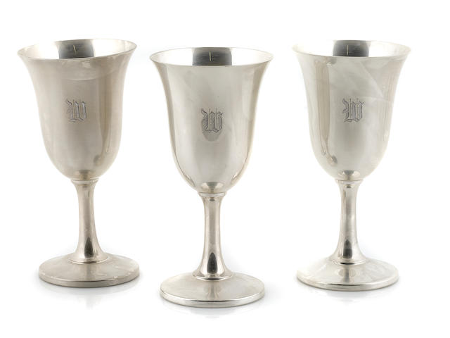 A set of twelve American sterling silver  goblets Wallace Silversmiths, Wallingford, CT,  mid-20th century