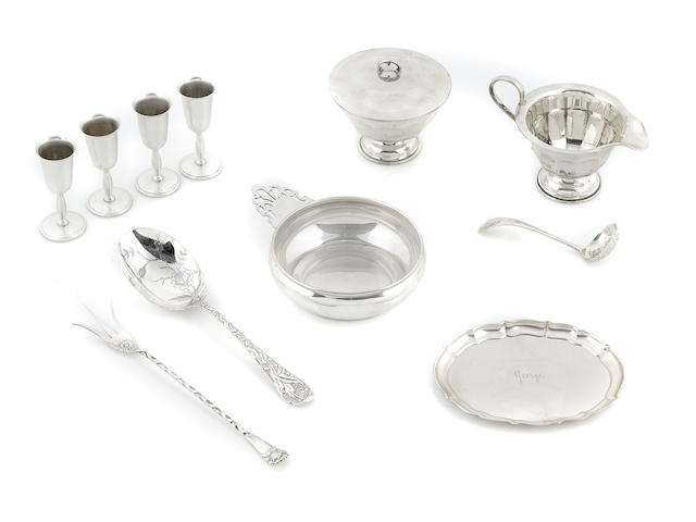 An assembled group of International coin and sterling silver  hollowware, flatware and accessories 20th century