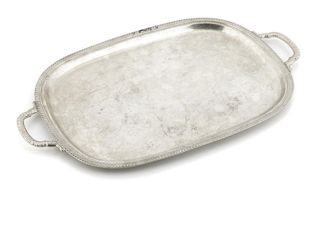 An American  sterling silver  rounded rectangular two-handled tray Fisher Silversmiths, Jersey City, NJ,  mid-20th century