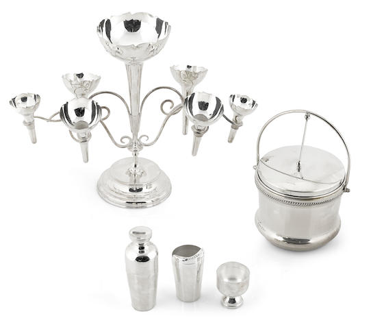 An assembled group of  silverplate  tableware and cocktail accessories 19th - 20th century