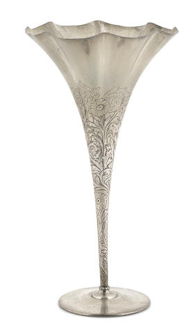 An American sterling silver floral-decorated trumpet vase Tiffany & Co., New York, NY, circa 1907 - 1947