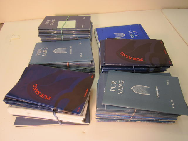 A quantity of 'Pur Sang' magazines published by the American Bugatti Club,