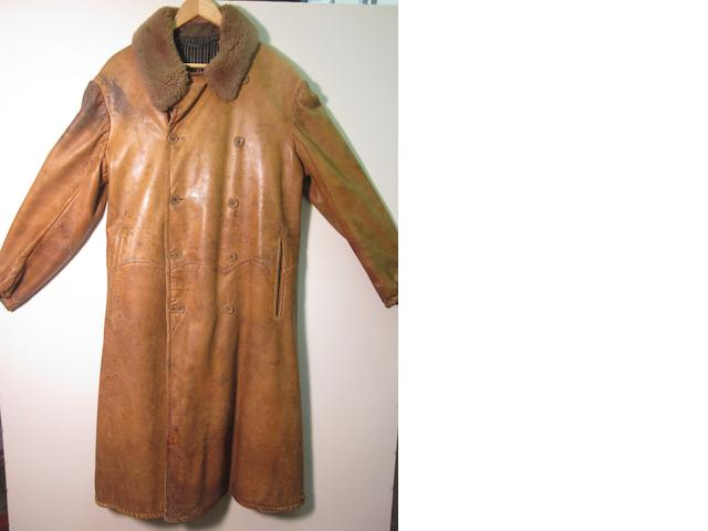 A leather motoring coat,