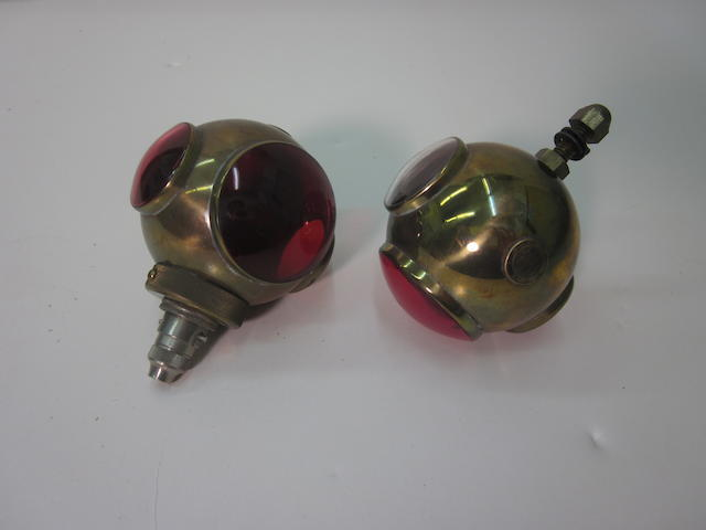 A matching set of replica brass JEP 'divers helmet' tail lamps