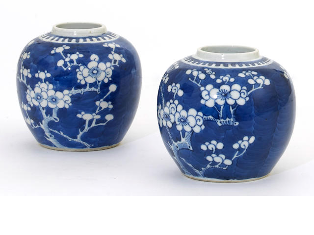 A pair of Chinese blue and white porcelain globular jars