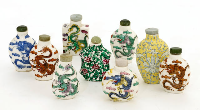 A group of nine polychrome enameled porcelain snuff bottles