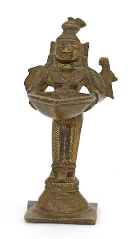An Indian bronze ritual butter lamp stand Orissa, 19th century
