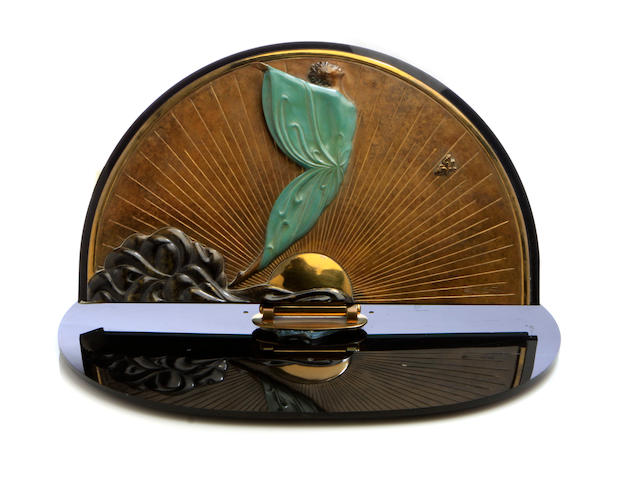 Erte, Mirror, bronze - mirror broken off of base, large chips to edge of vertical mirror plate