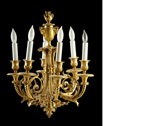 A Louis XVI style gilt bronze six light chandelier<BR />late 19th century