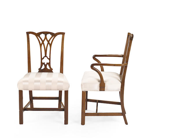 A set of eight George III style mahogany dining chairs <BR />circa 1900