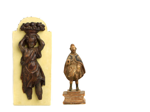 A group of two Baroque wood carvings of saints