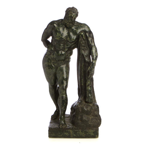 An Italian carved serpentine figure of Hercules