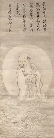 Etsuzan Joshu (1629-1709)<BR />Bodhidharma crossing the Yangtze on a reed