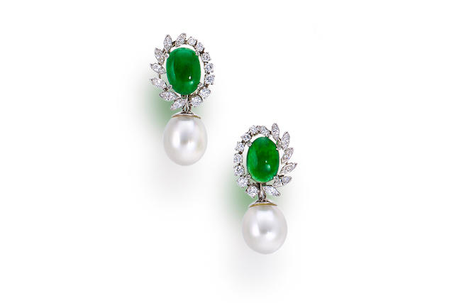 A pair of jadeite jade, cultured pearl and diamond day/night earclips