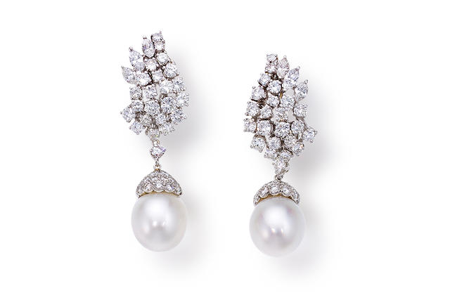 A pair of South Sea cultured pearl and diamond day/night earrings