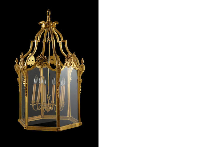 A Louis XV style gilt bronze and glass six light lantern<BR />late 19th/early 20th century