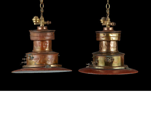 A pair of contemporary patinated copper hanging chandeliers