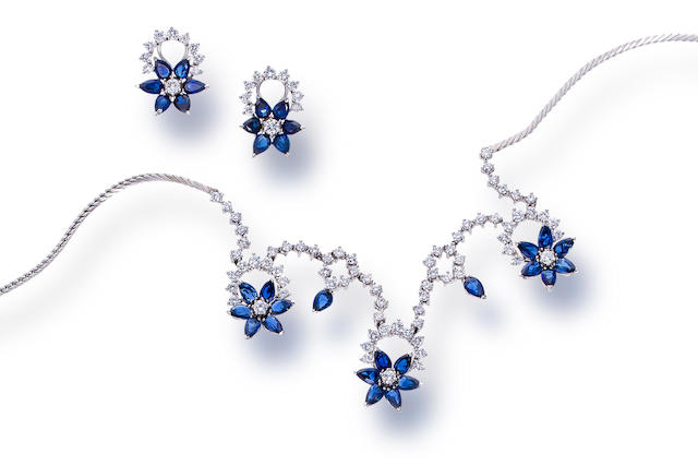 A sapphire and diamond necklace and pair of earclips