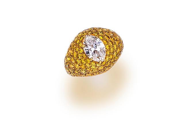 A diamond and colored diamond ring,