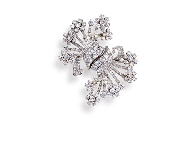 Two diamond brooches