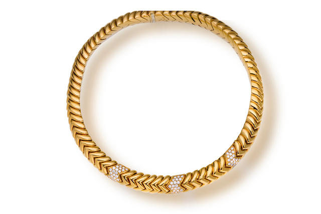 An eighteen karat gold and diamond necklace, Bulgari
