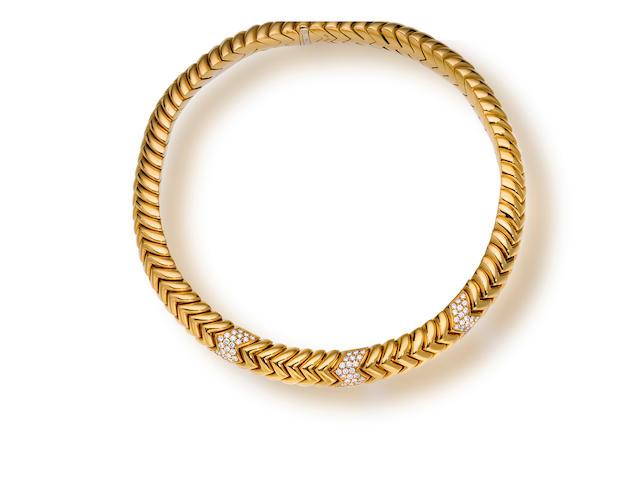 An eighteen karat gold and diamond necklace, Bulgari