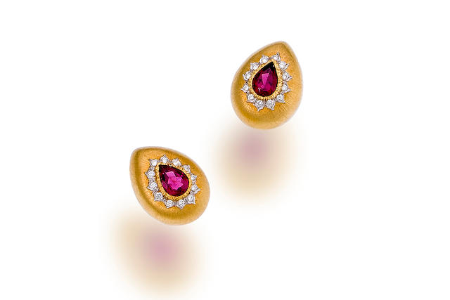 A pair of ruby and diamond earclips, Buccellati